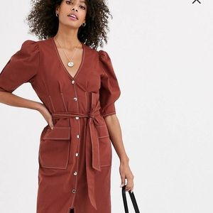 ASOS Midi Dress Puffer Sleeves